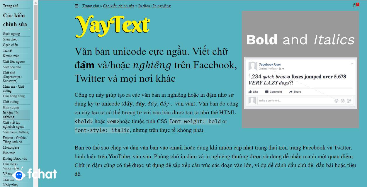 Sử dụng công cụ hỗ trợ in đậm chữ online Yaytext